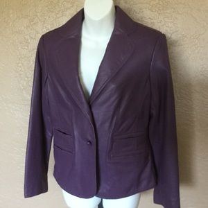 Pamela McCoy Plum Purple Leather Jacket XS EUC